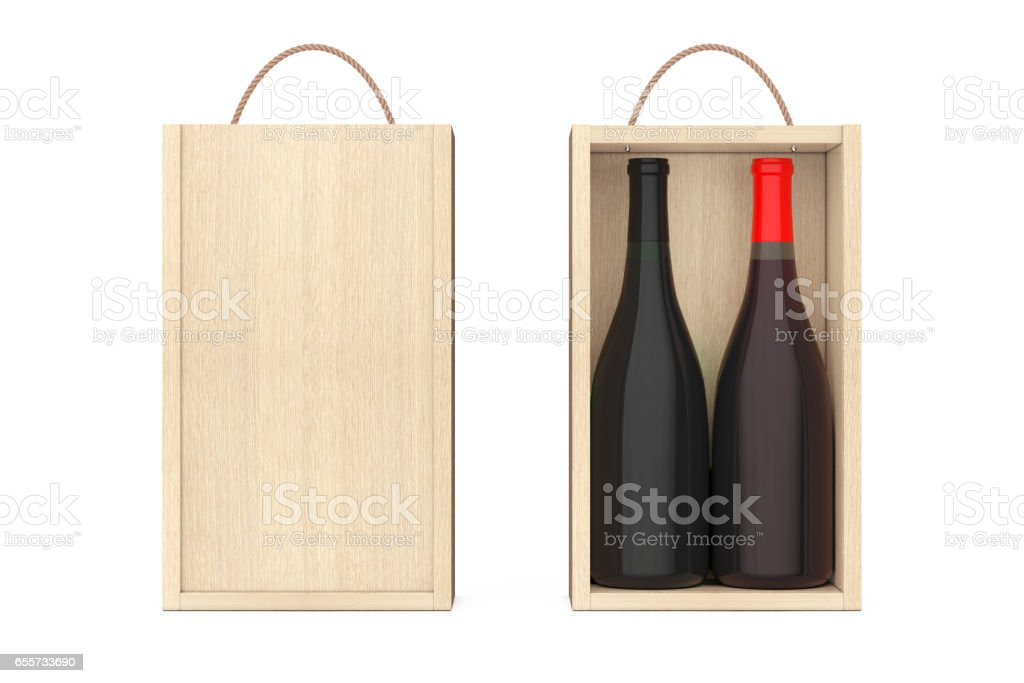 Wine Bottles in Blank Wooden Wine pack with Handle. 3d Rendering stock photo