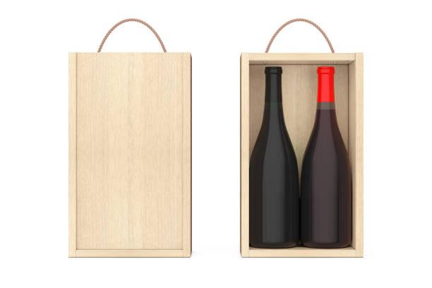 vinflaskor i tomma trä vin pack med handtag. 3d-rendering - wine box bildbanksfoton och bilder