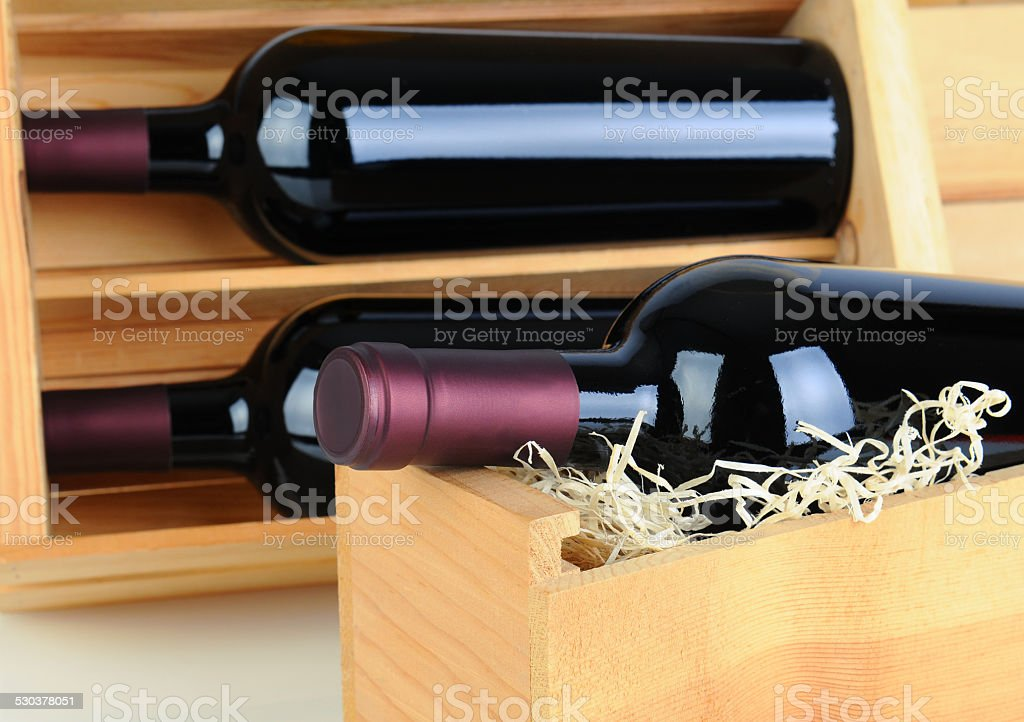 Wine Bottles in Wood Crates stock photo
