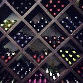 Wine bottles on the shelves