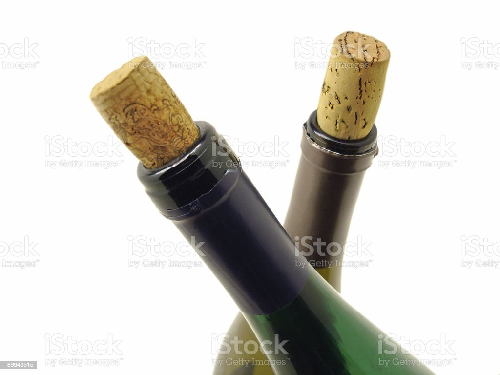 Wine Bottles on White royalty-free stock photo