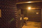 wine bottles in cave