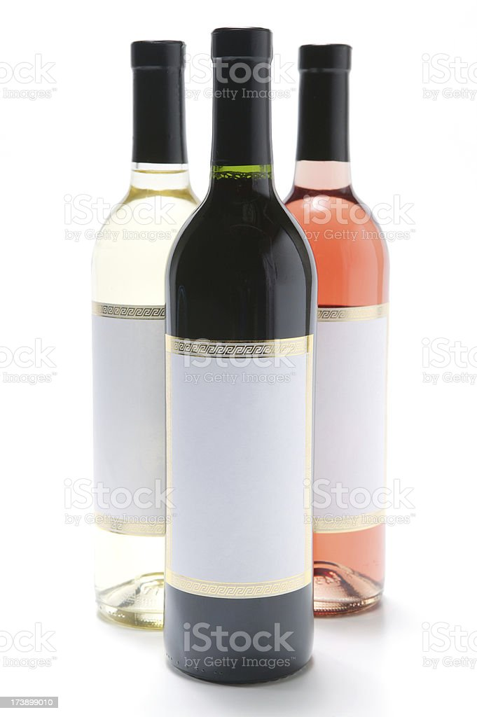 wine bottles red rose and white(with clipping path) royalty-free stock photo