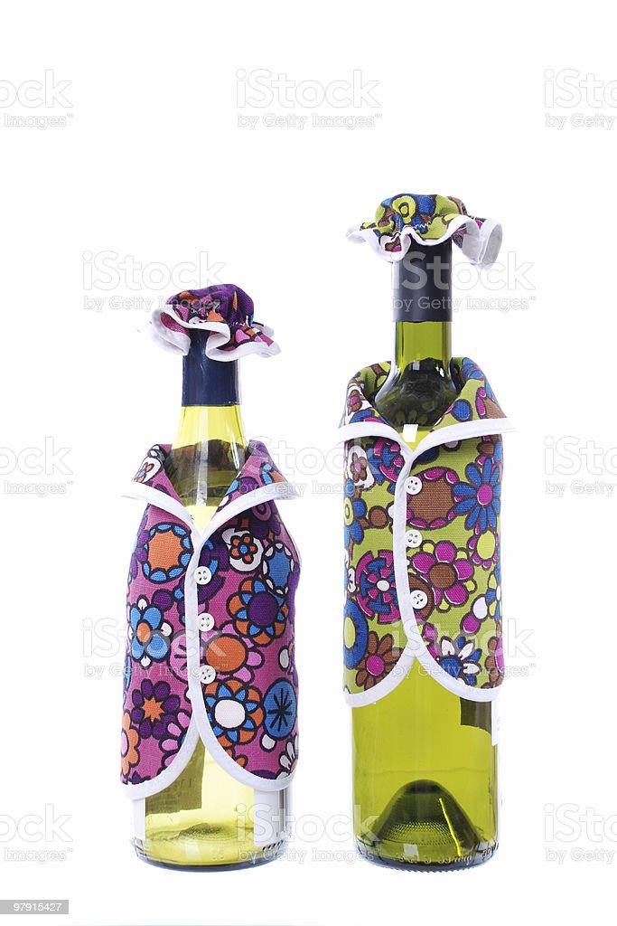 Wine bottles with outfits.. royalty-free stock photo