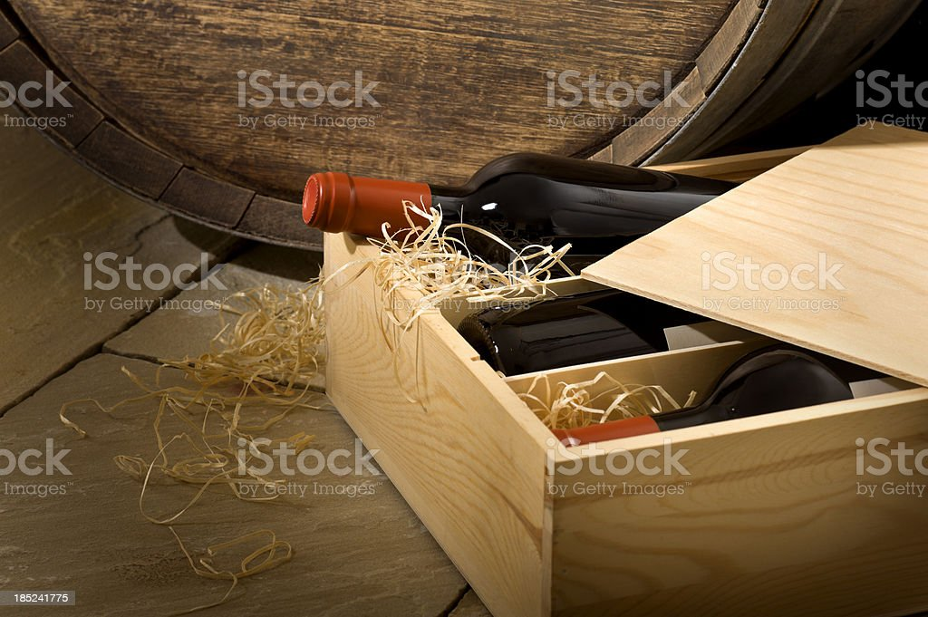Wine Box in Cellar royalty-free stock photo