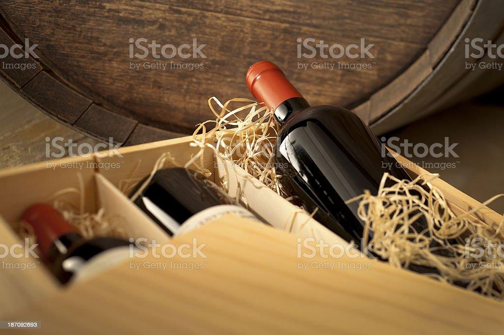 Wine Box in Cellar stock photo