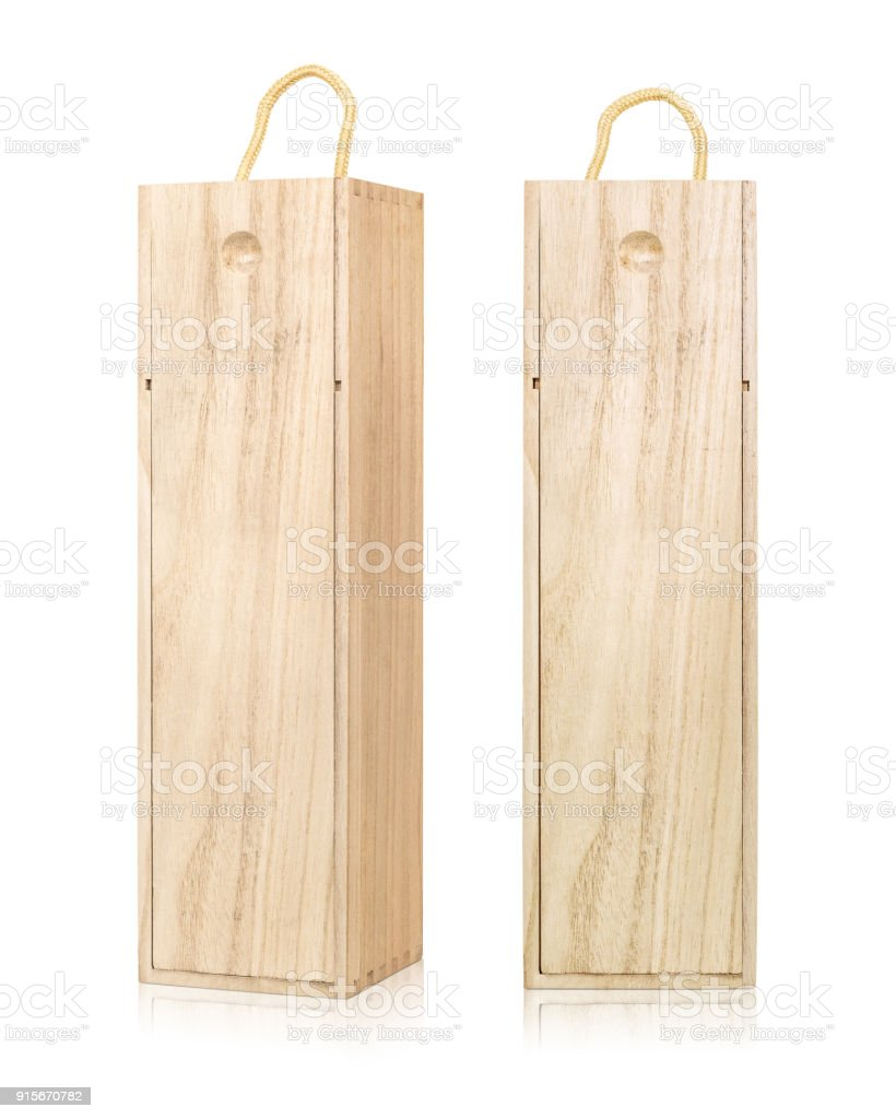 Wine box packaging isolated on white background. Blank template of long wooden box. ( Clipping path ) stock photo