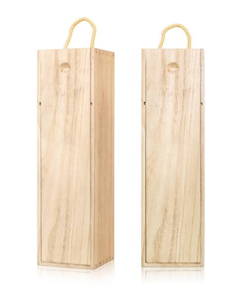 vin box förpackningar isolerad på vit bakgrund. tom mall av långa trälåda. (urklippsbana) - wine box bildbanksfoton och bilder