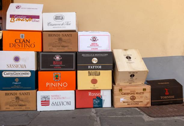 Wine boxes at the wine shop in Motlacino. Montalcino is famous for its Brunello di Montalcino wine. stock photo