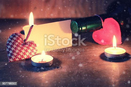 Wine candle valentine heart