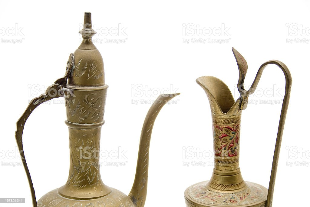 Wine carafes with decoration stock photo