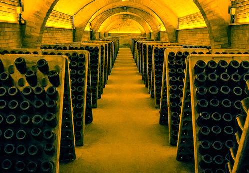 wine cellar cross process wine cava champagne bottle horizontal
