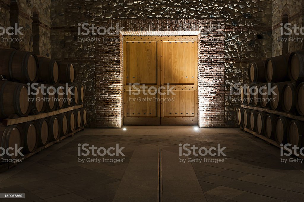 Wine cellar door stock photo