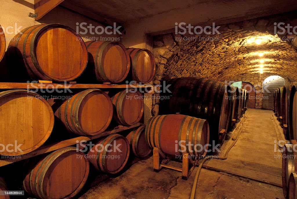 Wine cellar filled with lots of barrels stock photo