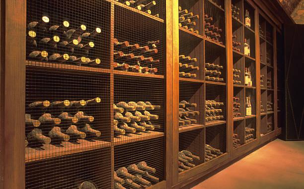 Wine cellar in Napa Valley. stock photo