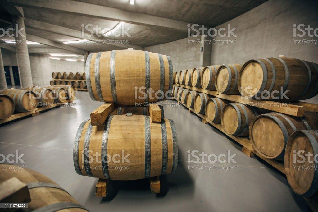 Inside of wine cellar, cellar is full of wooden casks, no people.