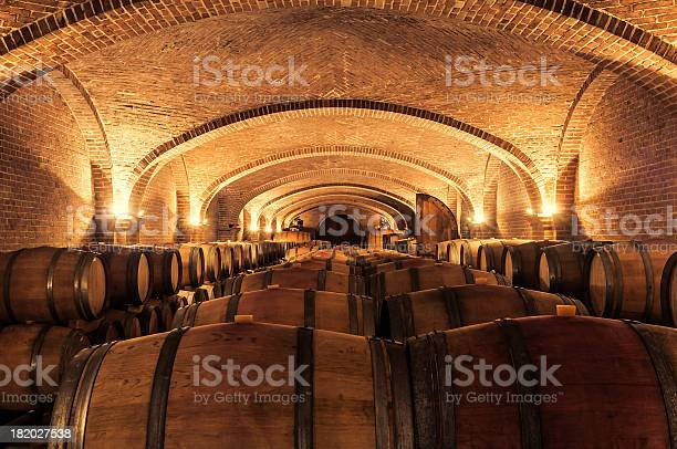 Multiple cask in a cellar during wine aging process