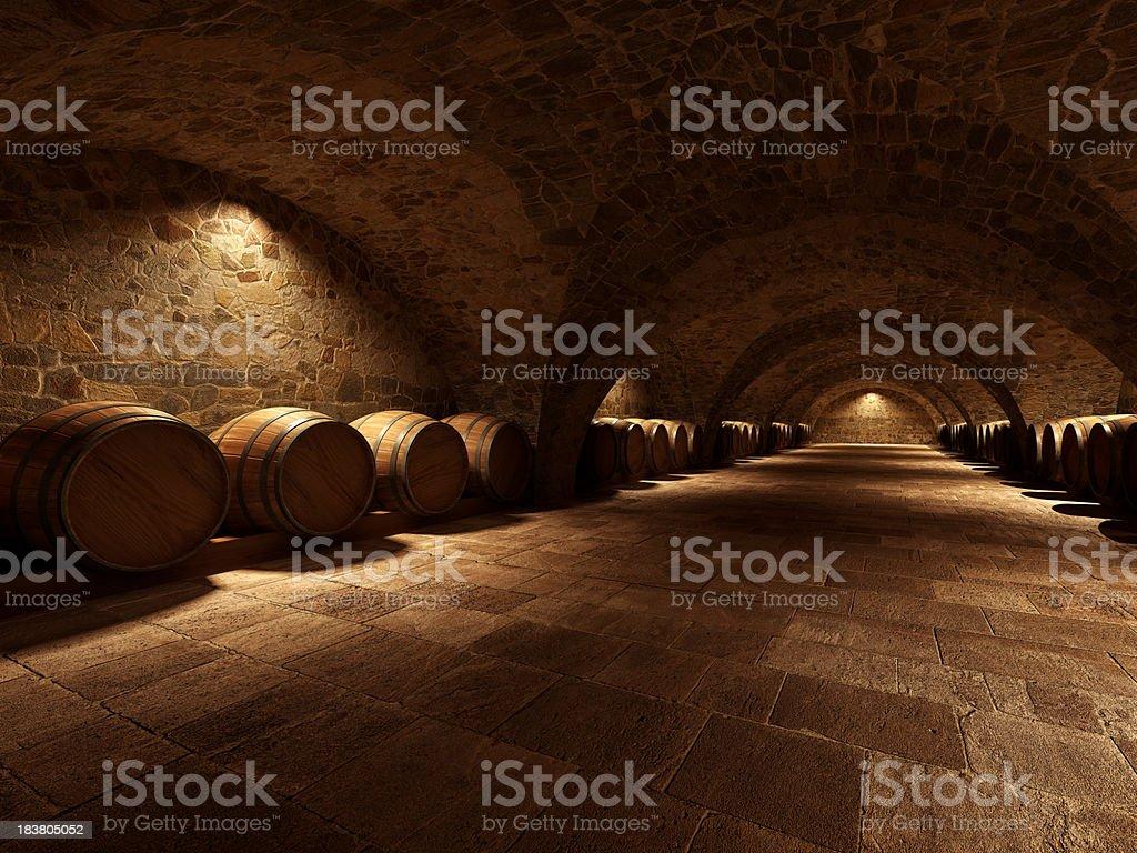 Wine cellar stock photo