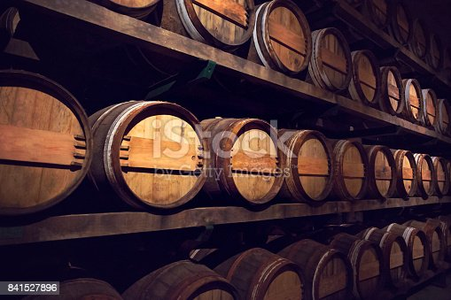 Wine cellar with a row of barrels, Austria