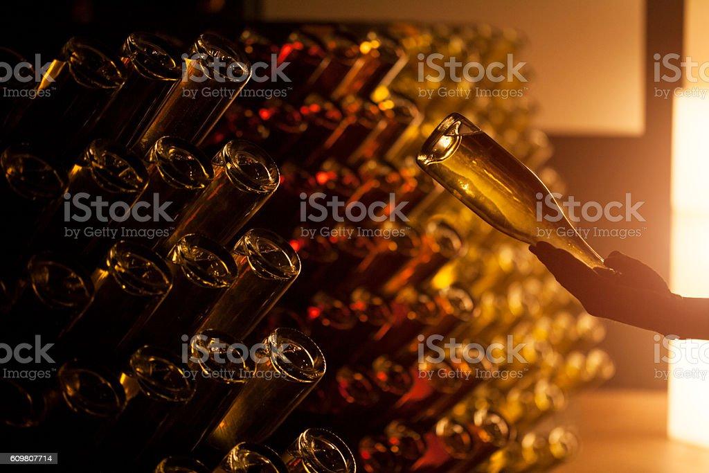 Wine cellar with bottles stock photo