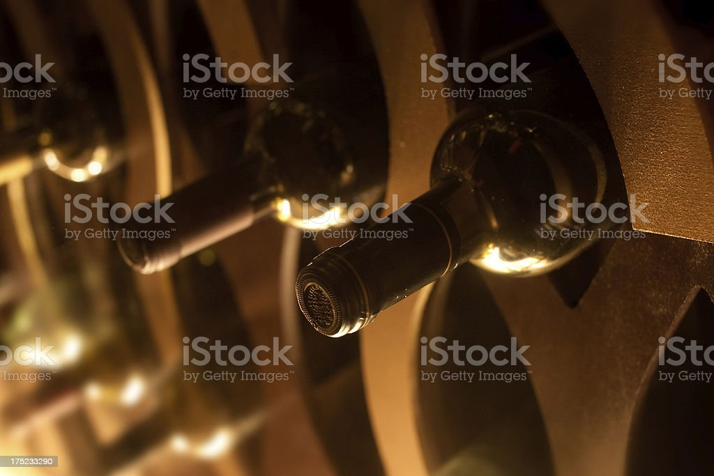 Wine Cellar with close-up of bottles royalty-free stock photo