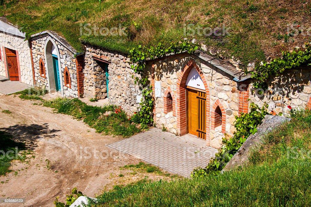 Wine cellars in village Kobyli stock photo