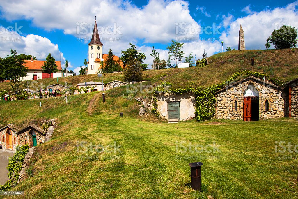 Wine cellars in village Kobyli stock photo