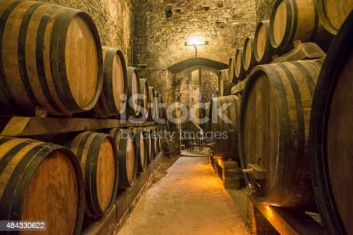 Builing basement with wine barrels.