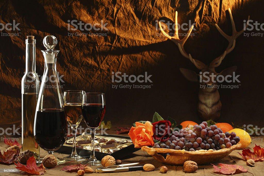 Wine, chokolate and fruits. royalty-free stock photo