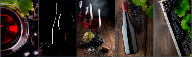 Wine collage. Red wine bottle and wine glass on different backgrounds, photo collage banner stock photo