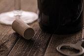 wine cork next to the bottle