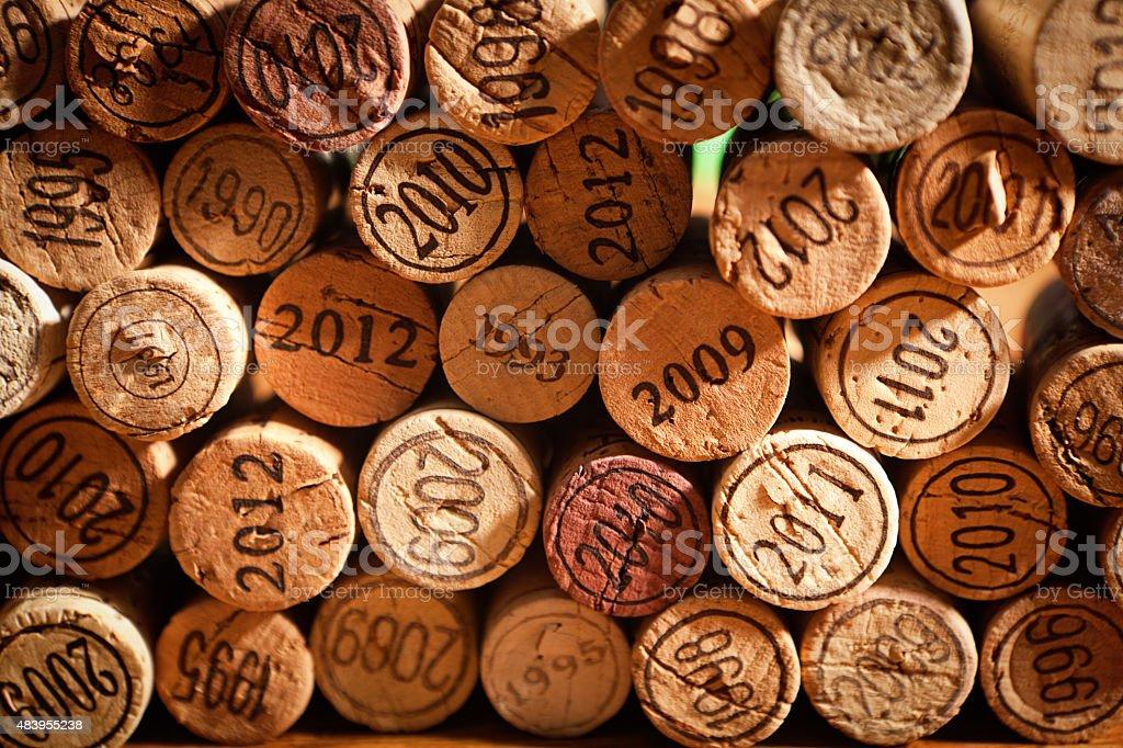 Bouchons de liège, du vin Vintage ans en arrière-plan - Photo