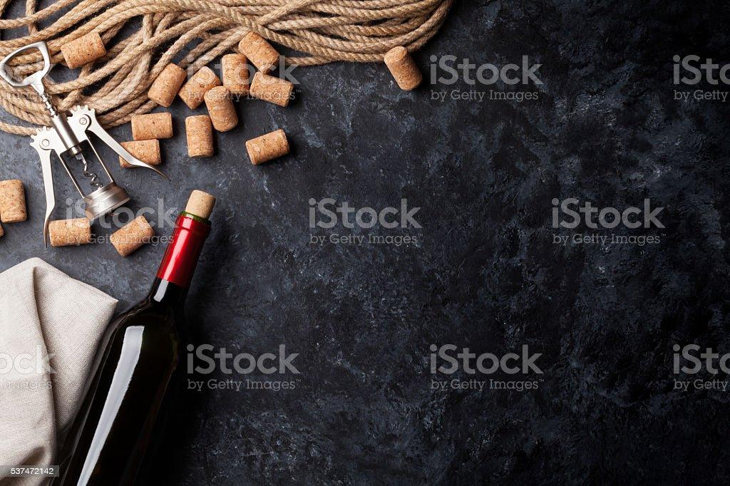 Wine, corks and corkscrew stock photo