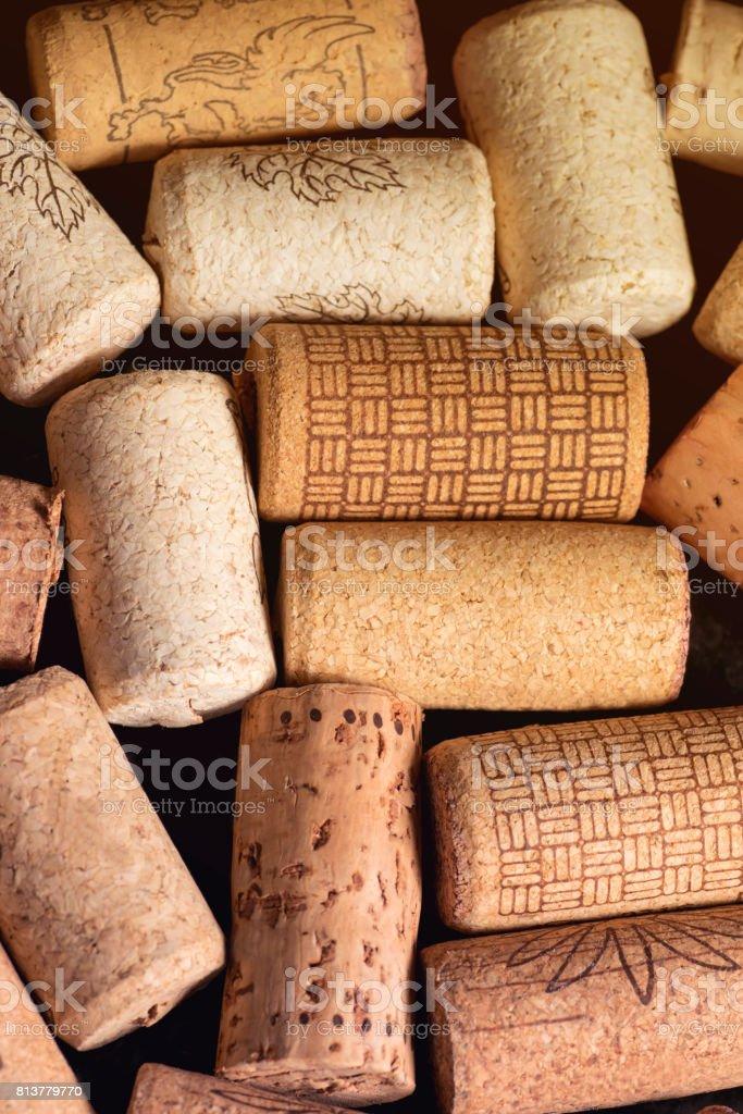 Fond de bouchons de bouteilles de vin gros plan - Photo