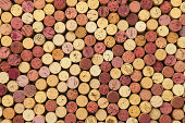 Wine corks background, top view. Writing on the corks are just year. They are not commercial brand names.