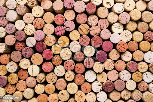colorful wine corks photographed from above
