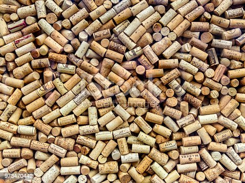 Various used wine corks background in showcase