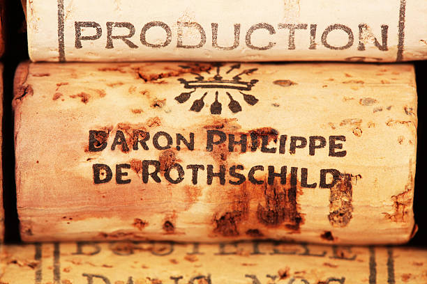 Wine corks Baron Philippe de Rothschild stock photo
