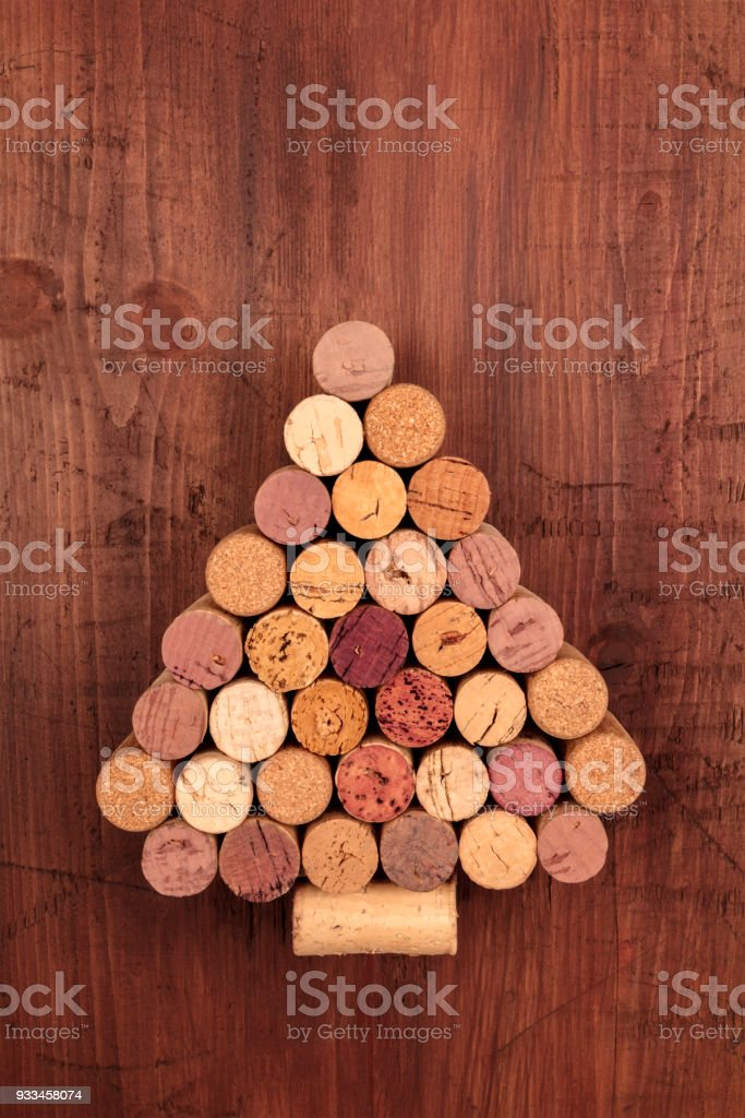 Wine corks Christmas tree with a place for text stock photo