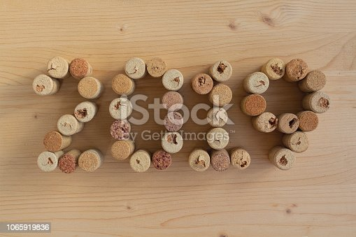 istock Wine corks closeup 2019. New Year's decoration 1065919836