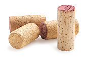 Wine corks collection  isolated on white background.  Food and drink concept