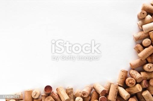 Wine corks frame, group of wine corks isolated on white background.