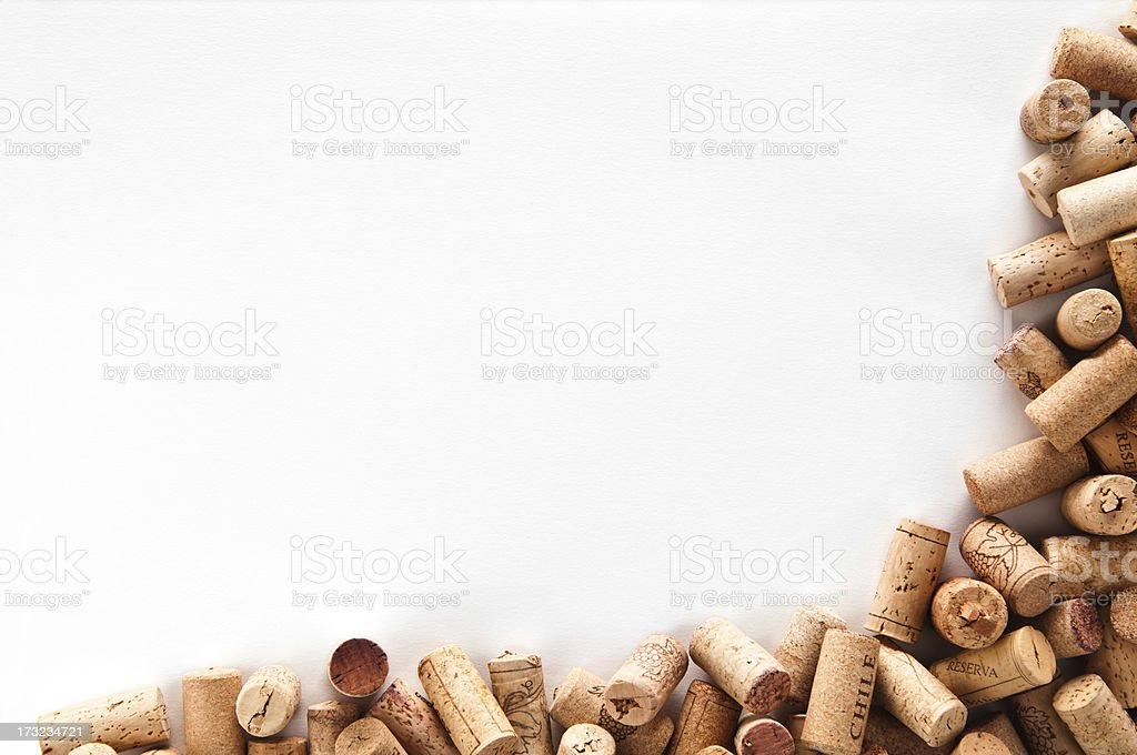 Wine corks frame isolated on white background stock photo