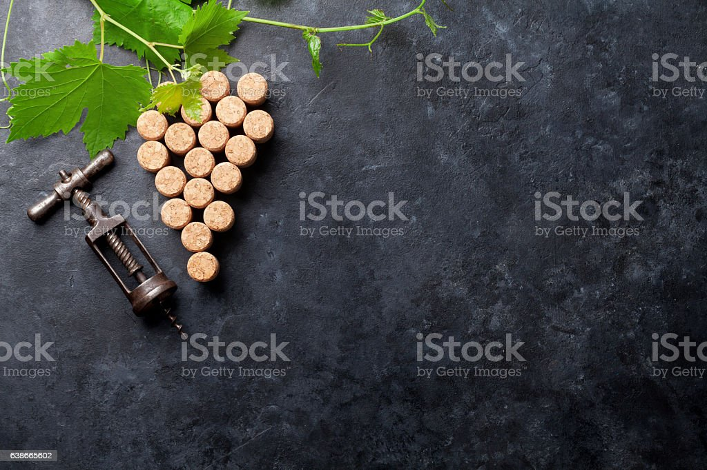 Wine corks grape shape and vine stock photo