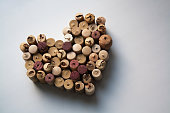 Wine corks heart shaped form isolated on white background