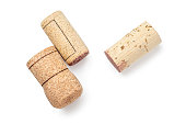 Wine corks Isolated on white background. Close up. Alcohol Corks macro. Top view