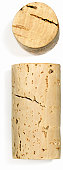 Two wine corks shot from different angles isolated on white background. Could also be the letter i.