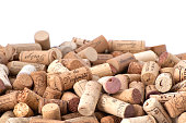 Wine corks. Photographing with studio light on a white background.