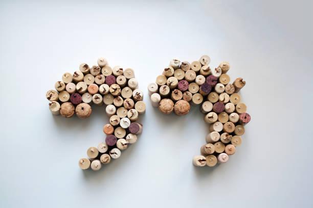 Des bouchons de vin guillemets d'en haut - Photo