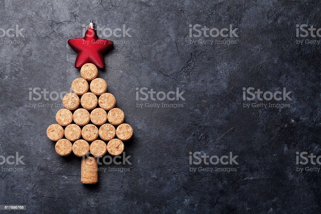 Wine corks shaped christmas tree stock photo